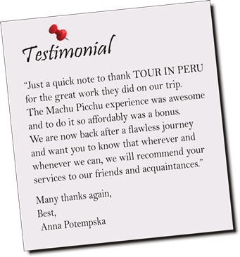 Travel testimonial, Machu Picchu Peru tour