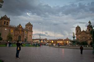 Full moon at Plaza de Armas Cusco, Peru