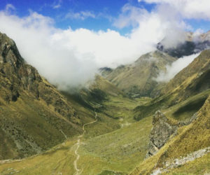 Andean valley landscape in the Salkantay Trek