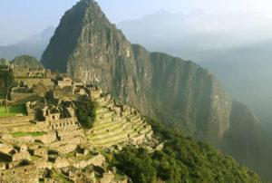 Amazing view of the Machu Picchu citadel and Huayna Picchu Mountain